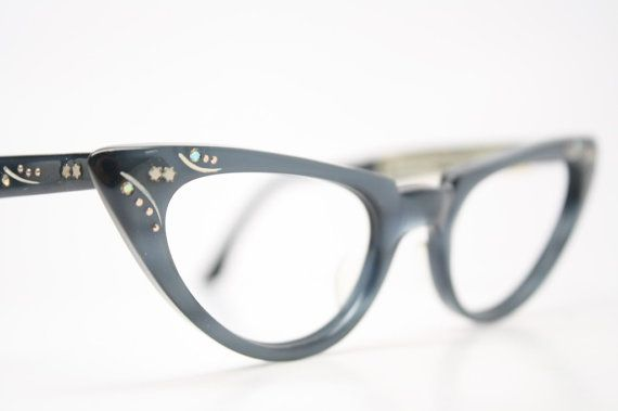 Gray Rhinestone Cat Eye Glasses Vintage Cateye Frames 1950s Eyeglasses