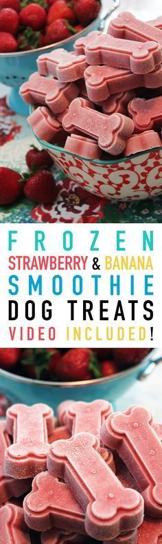 Frozen Strawberry and Banana Smoothie Dog Treats - The Cottage Market - Dogs #strawberrybananasmoothie