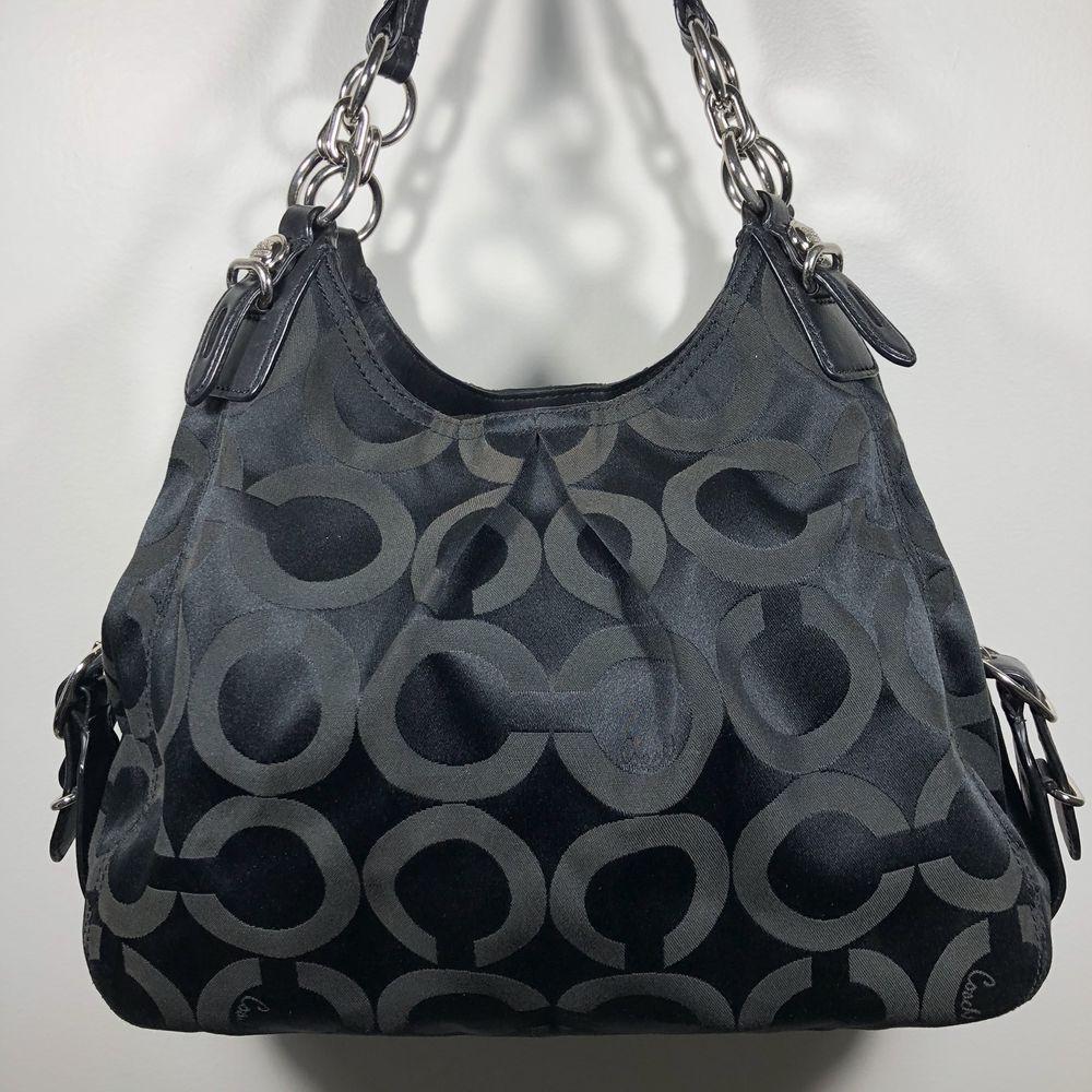 Coach Signature Mia Op Art Maggie Hobo Shoulder Bag, Black Silver Purple, f618c23768