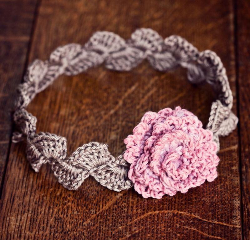 Rose headband | Crochet flowers and headbands. | Pinterest | Tejido ...
