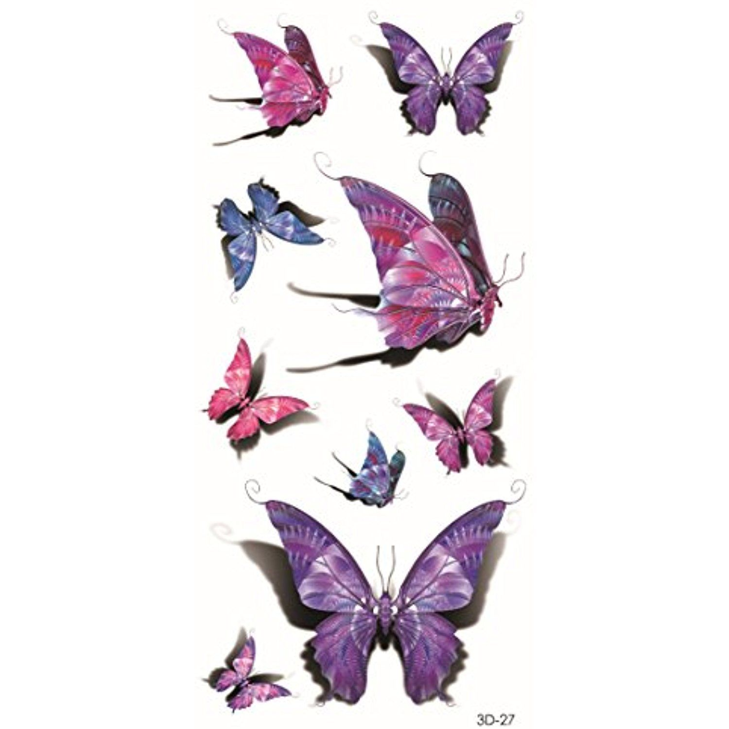 Girl tattoo ideas butterfly colorful butterfly pink purple temporary tattoos for maverick women