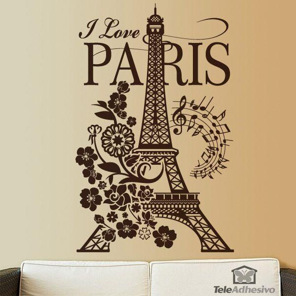 Vinilo Decorativo Floral Con Torre Eiffel I Love Paris
