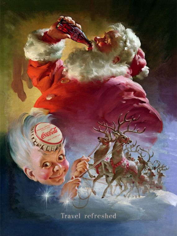 1930′s to 1960′s    Coca-Cola is often credited for creating the image of the modern Santa Claus as an old, jolly and fat man in a red and white suit. Coca-Cola did invent the red-and-white jolly Santa during the 1930′s, the illustration done by Haddon Sundblom. Before Santa, pretty young women were used to endorse Coca-Cola.