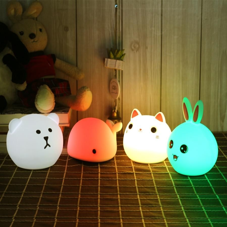 Touch Control Silicone Animal Led Night Light Usb Rechargeable Night Light Night Light Kids Led Night Light