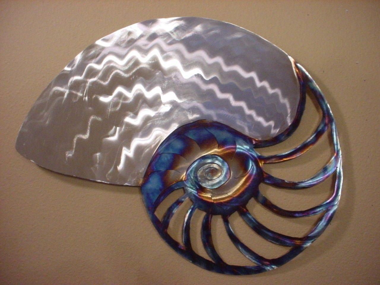 Large Nautilus Sea Shell Metal Ocean Decor Steel Beach Cottage Etsy Ocean Decor Coastal Wall Art Beach Cottages