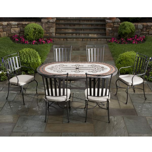 "Outdoor Patio Furniture Omaha Ne: 72"" Orvieto Marble Mosaic - Dining"