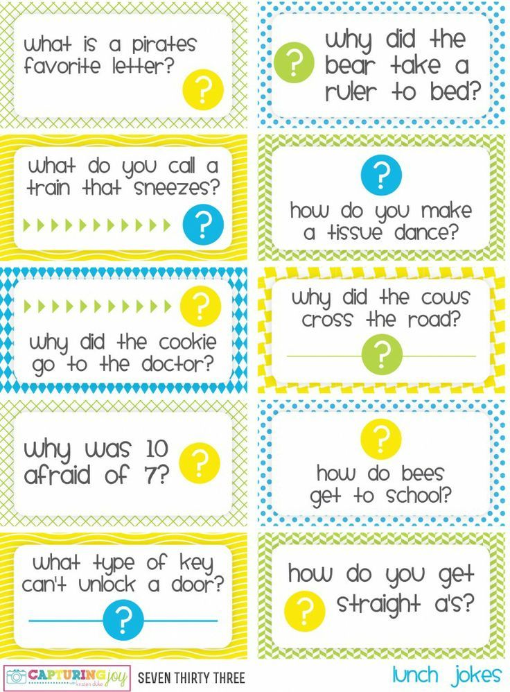 Printable <b>Kids</b> Lunch <b>Jokes</b> and Brain Teasers | CrAfTy 2 ThE CoRe ...