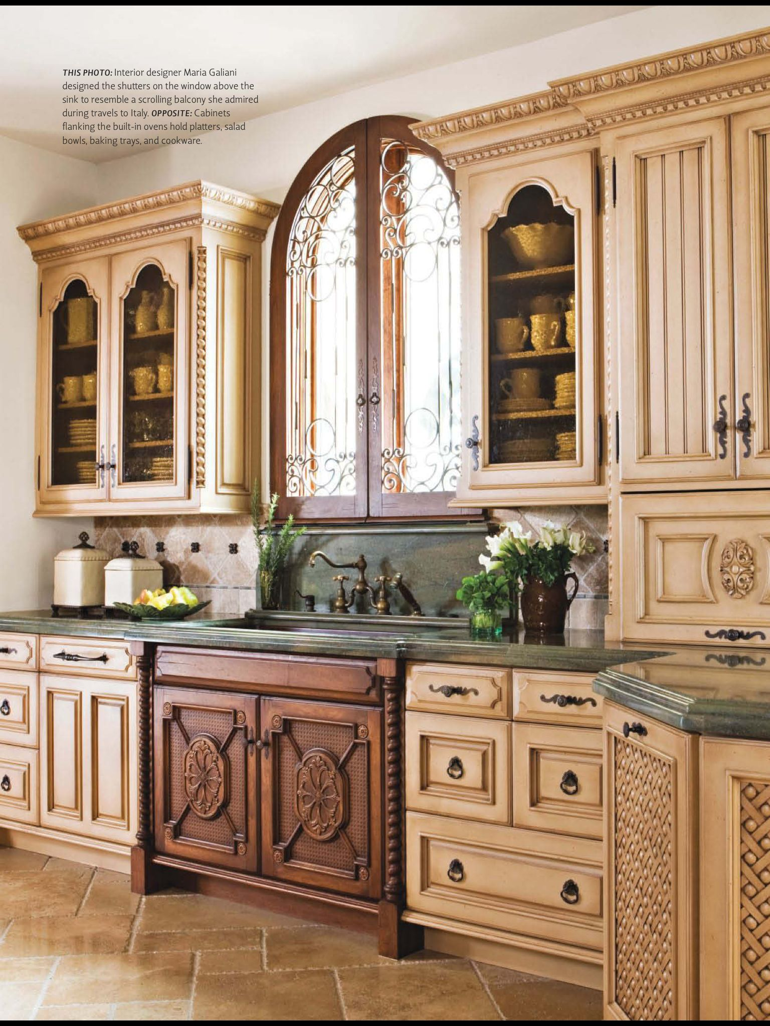 Window above kitchen cabinets  beautiful kitchen window and sink love the mix of woods too