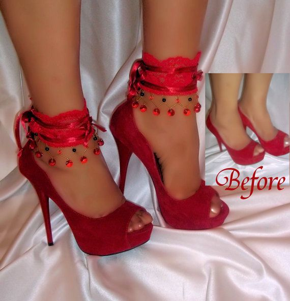 Red Lace Beaded Ankle Glams Ankle Bracelets by DesignsByLoure, $20.00