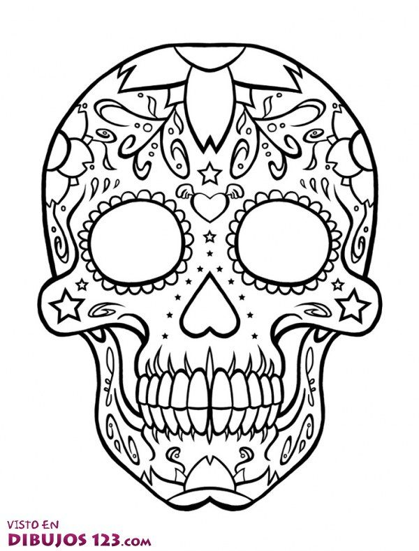 Calavera Mexicana Para Colorear … | Tatuajes | Pinte…