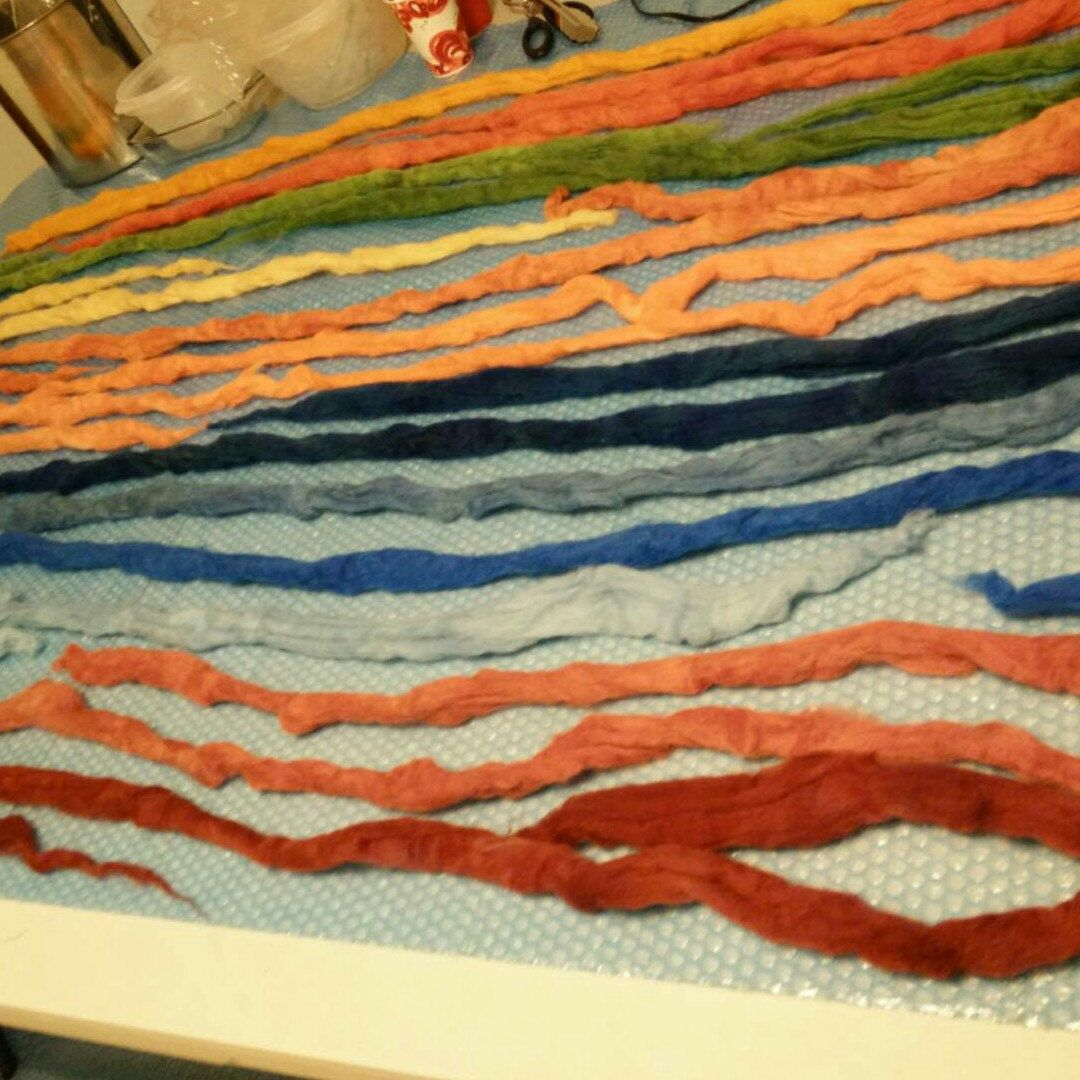 Hand dyeing wool project. All wool roving I use for