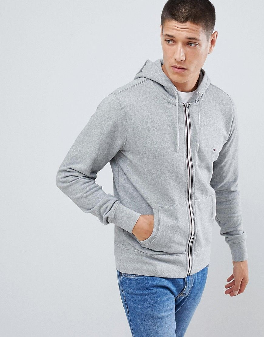 a2a6061f TOMMY HILFIGER ZIP THROUGH HOODIE IN GRAY - GRAY. #tommyhilfiger #cloth #