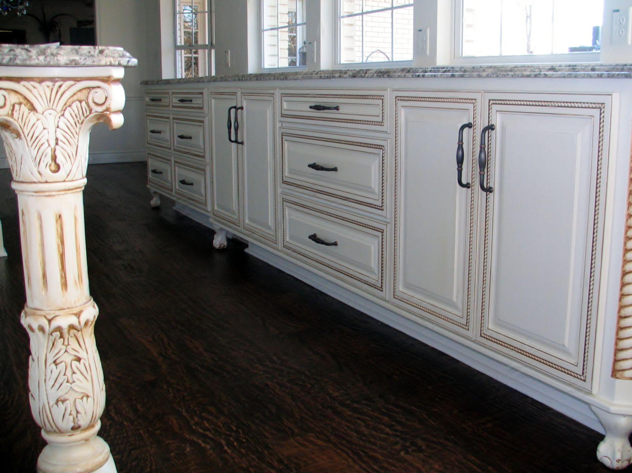 Tea Stain Glazing Of Custom Kitchen Cabinets, Flower Mound