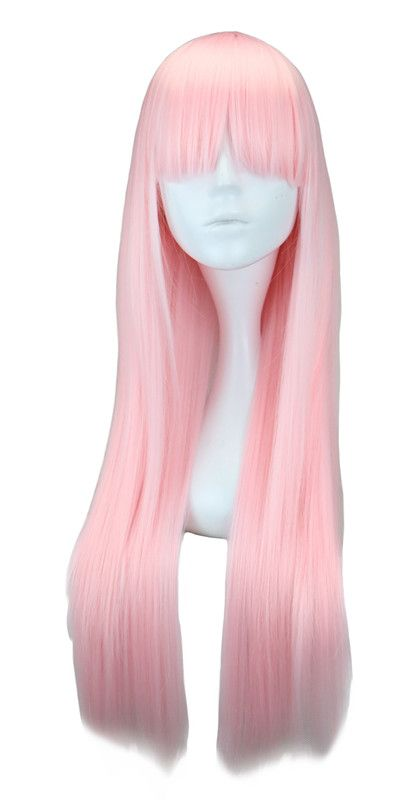 Qqxcaiw Long Straight Women Anime Cosplay Light Pink 70 Cm Synthetic Hair Wigs Wig Hairstyles Pink Hair Anime Synthetic Hair