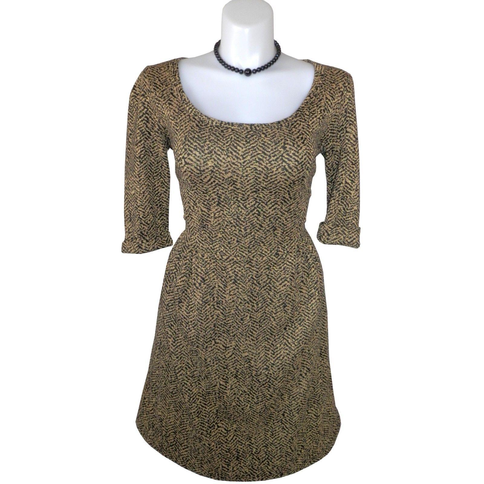 Awesome amazing nwt gold u black tweed pattern rayon melissa masse