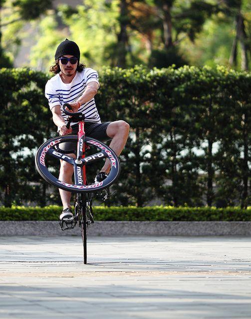 A Wheelie On A Fixedgear Fixie Urban Bike Fixed Gear Bike