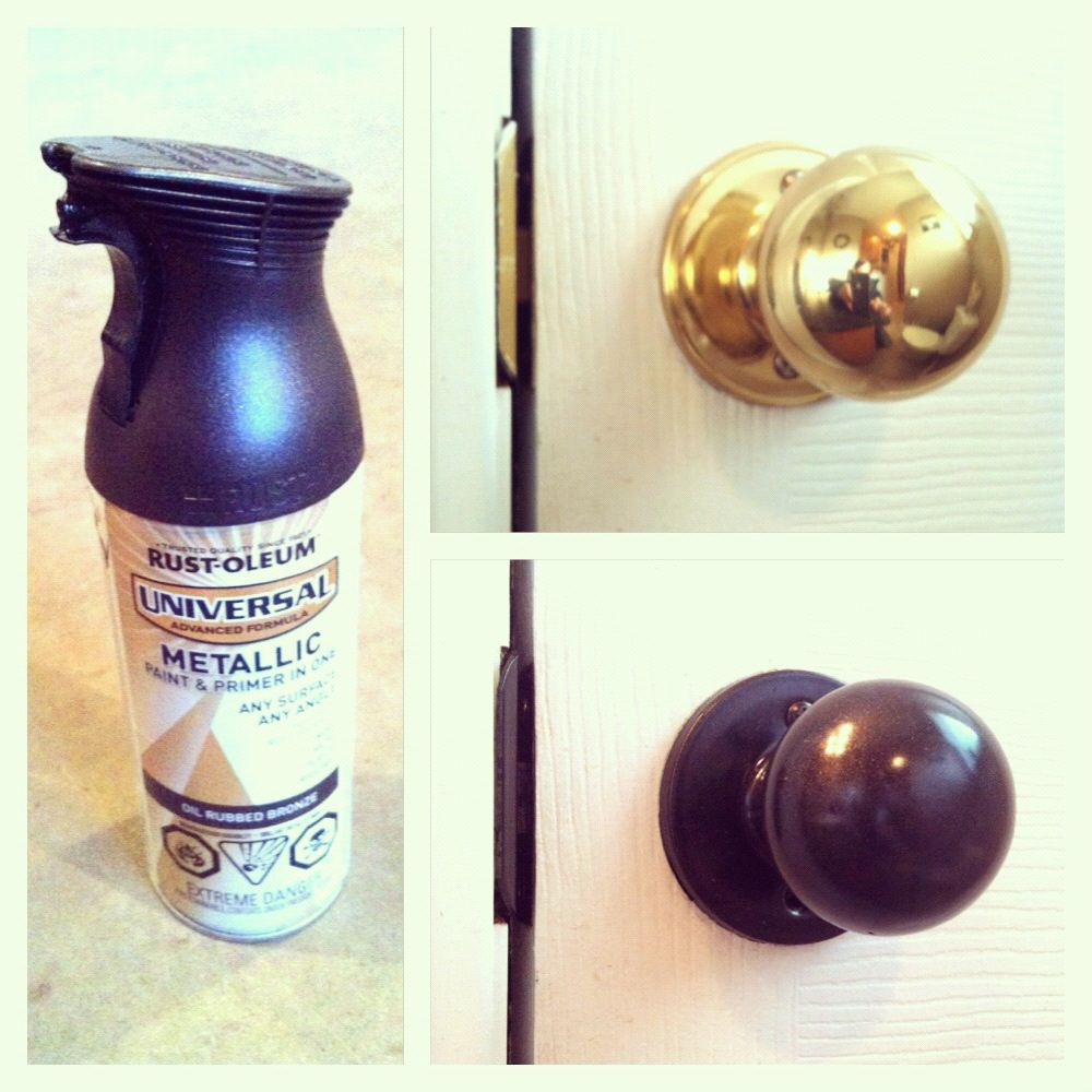 Spray Painted My Br Hardware With Rustoleum Oil Rubbed Bronze The Cupboard Handles Are Next