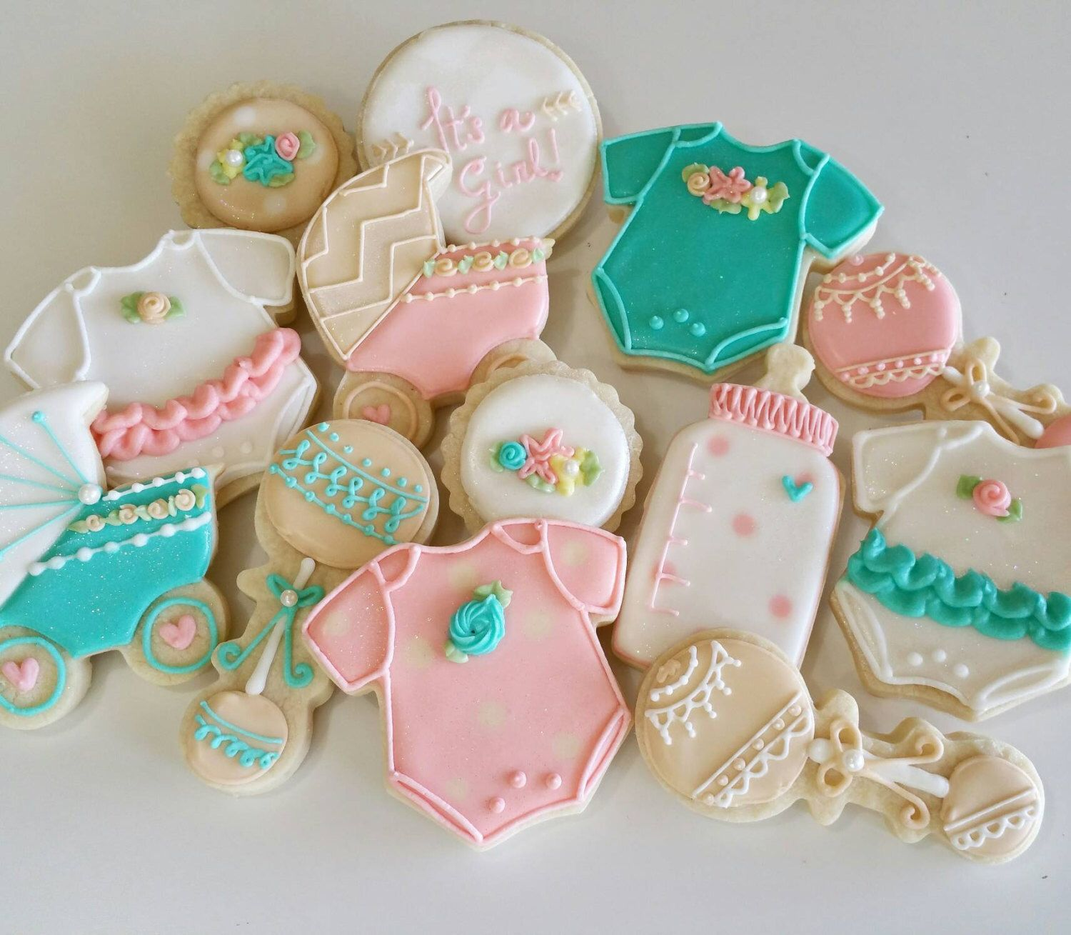 Girl Baby Shower Sugar Cookies Royal Icing, Baby Shower,girl Baptism Cookies  , Baby Girl Party, Baby Outfit Cookie Baby Stroller Baby Bottle