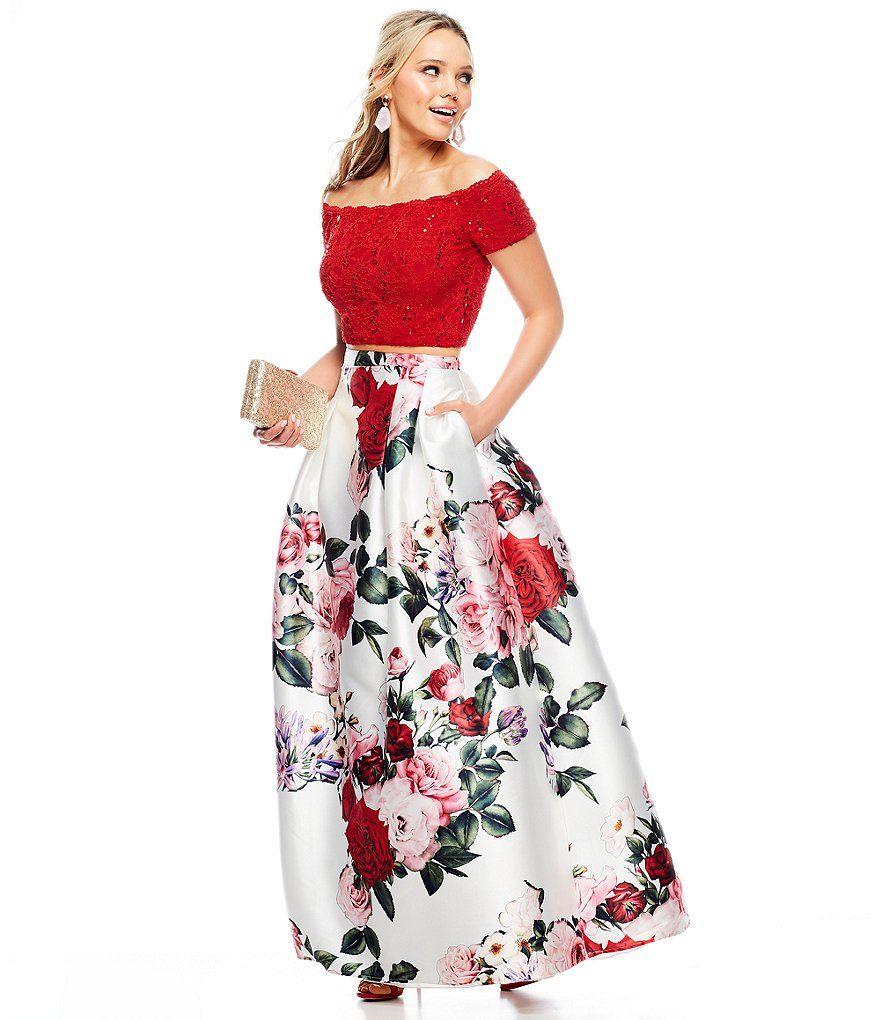 B Darlin Off The Shoulder Lace Top With Floral Skirt Two Piece Dress Vestidos De Fiesta Faldas Largas De Vestir Moda Faldas [ 1020 x 880 Pixel ]
