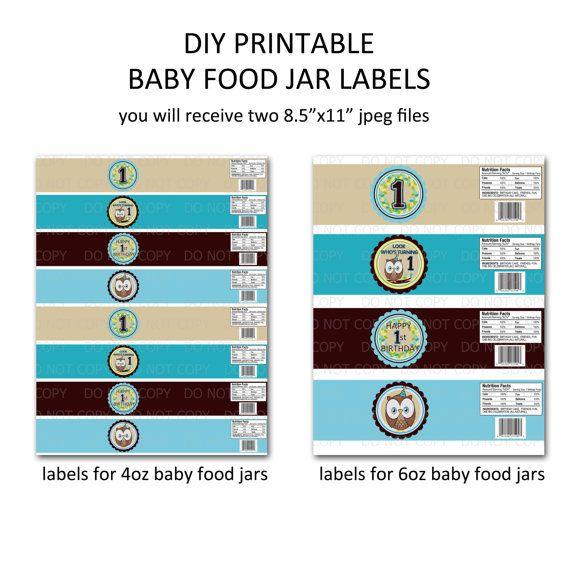Printable Diy Owl First Birthday Theme Baby Food Jar Labels Etsy Baby Food Jars Jar Labels Baby Food Recipes