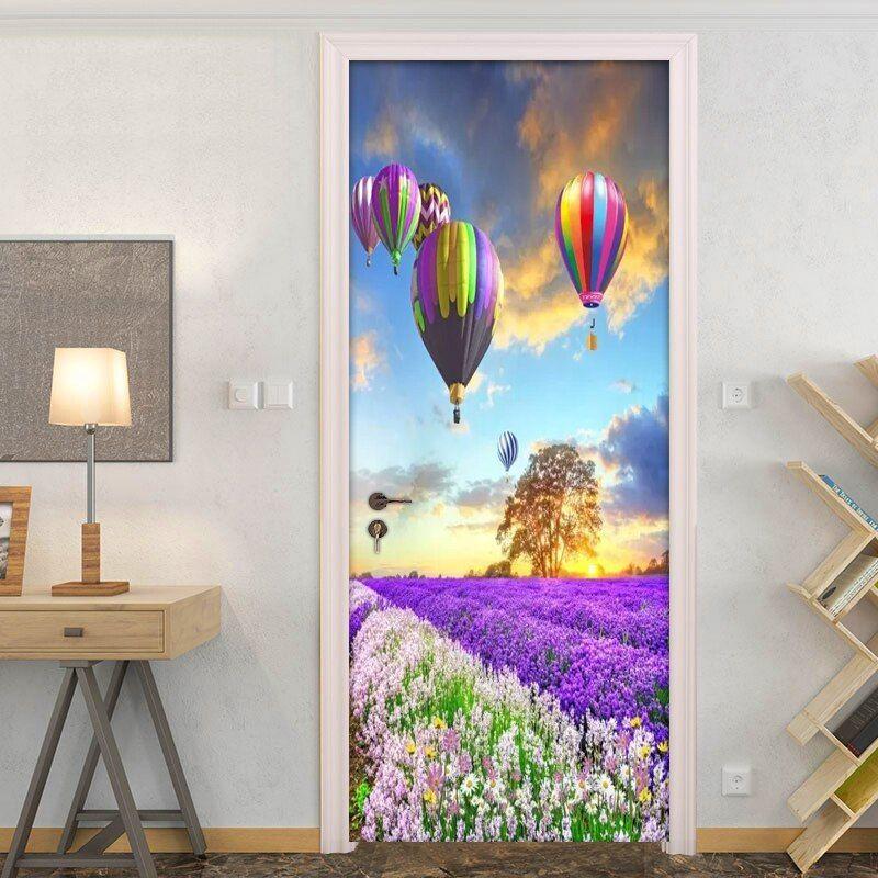 Hot Air Balloon Lavender Flower Sea 3d Poster Wall Wallpaper Modern Living Room Bedroom Door