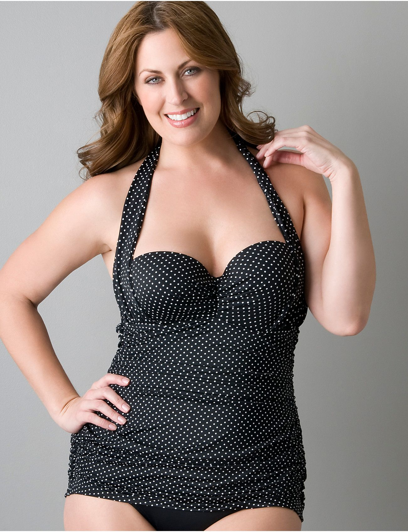 4d84019a135 Plus size Retro shirred swimsuit with underwire