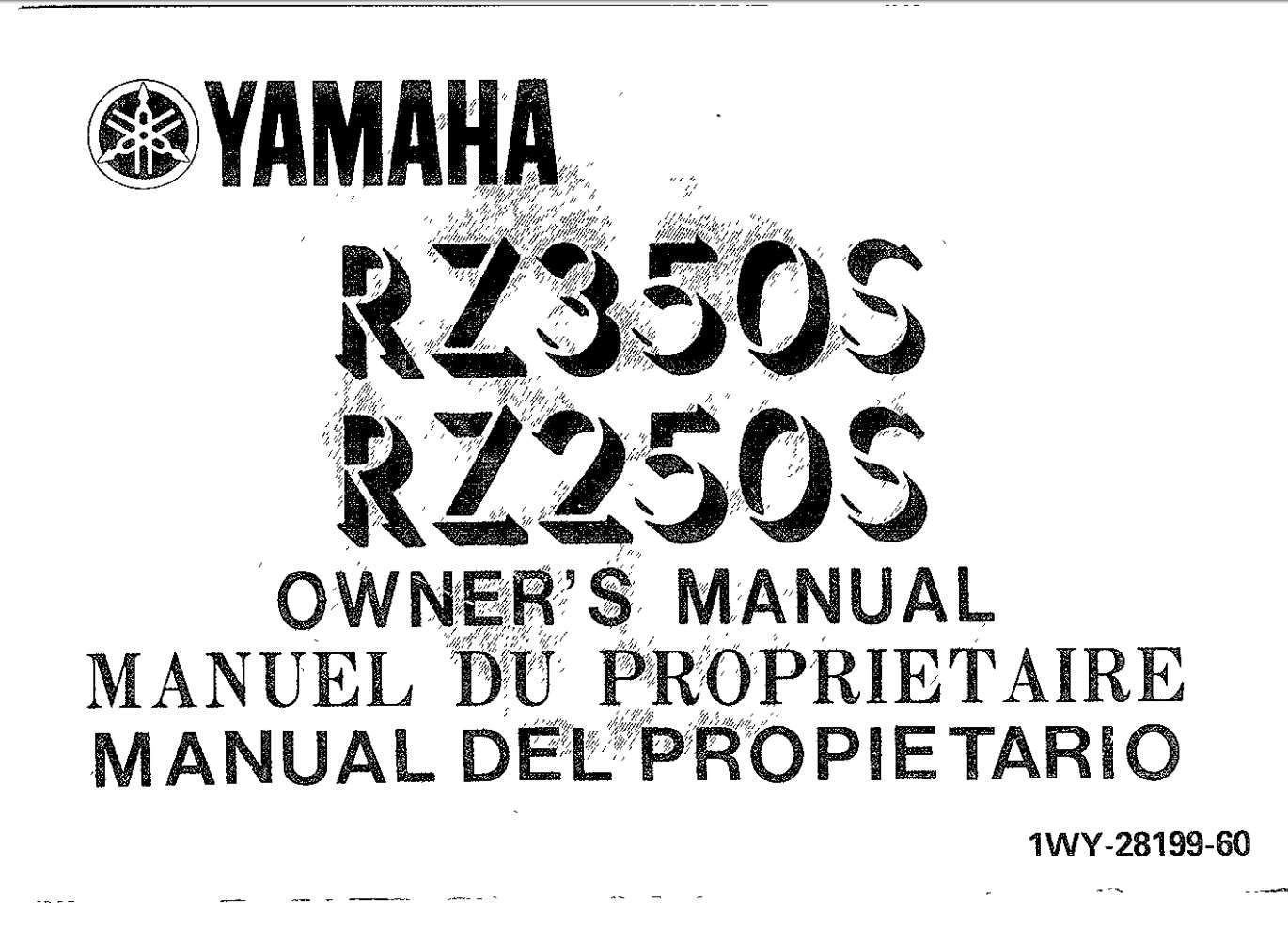 Yamaha RZ350 S (RZ250 S) 1987 Owner's Manual in 2020