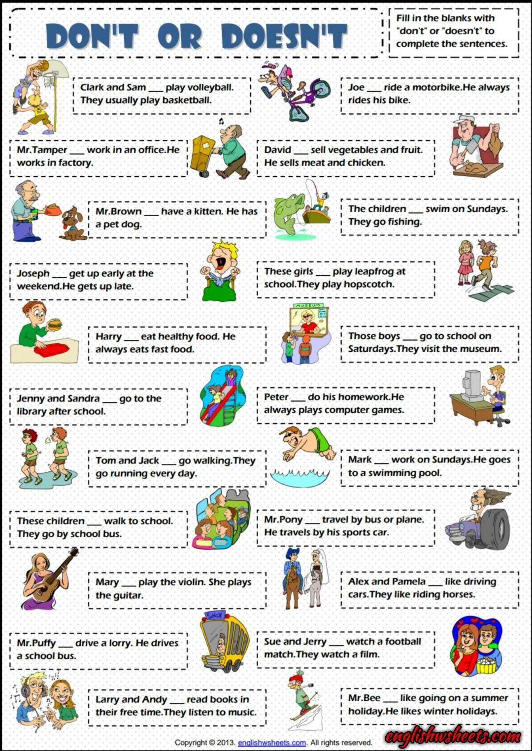 Don T Or Doesn T Present Simple Esl Exercise Worksheet
