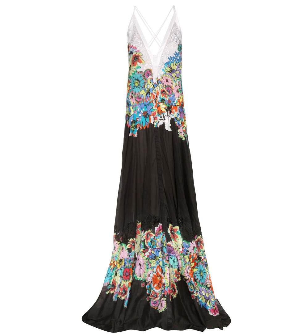 Multicoloured printed cotton maxi dress couturerunway circa