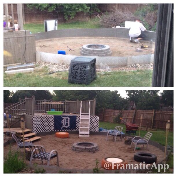 turned an above ground pool area into a large fire pit outside projects pinterest large. Black Bedroom Furniture Sets. Home Design Ideas