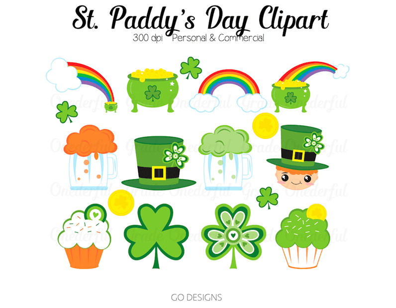 St Patrick S Day Clipart Rainbows Pot Of Gold Beer Shamrocks Papers Frame St Patricks Day Clipart Saint Patricks Day Art Clip Art