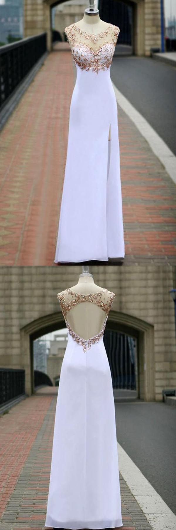 Scoop chiffon open back white long prom dress with crystal pg
