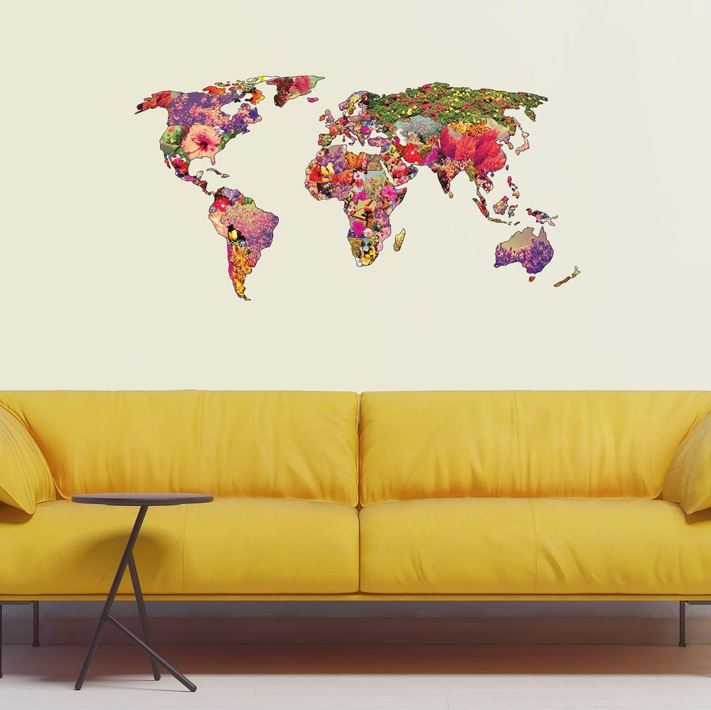 Floral World Map Wall Sticker - It\'s Your World by Bianca Green ...