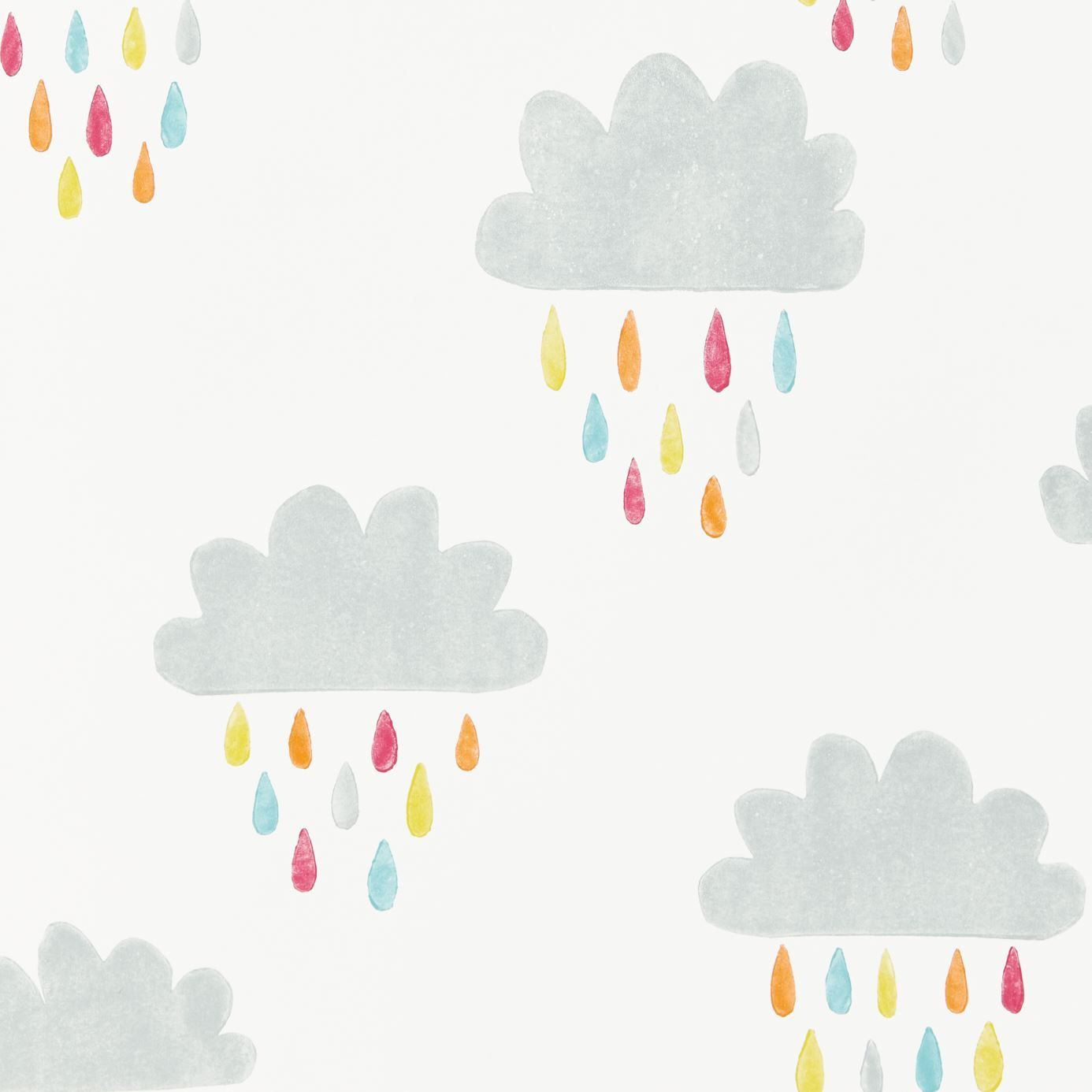 products  scion  fashionled stylish and modern fabrics and  - grey and white kids' cloud wallpaper april showers citrus lagoon and poppywallpaper by scion
