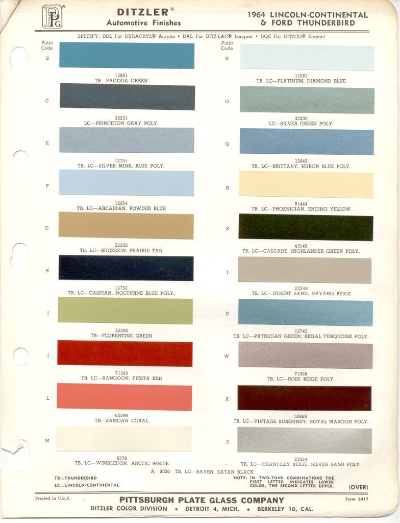 1964 Lincoln Continental Models Lineup Color Code Reference Guide Custom Color Paint Color Chart Thunderbird