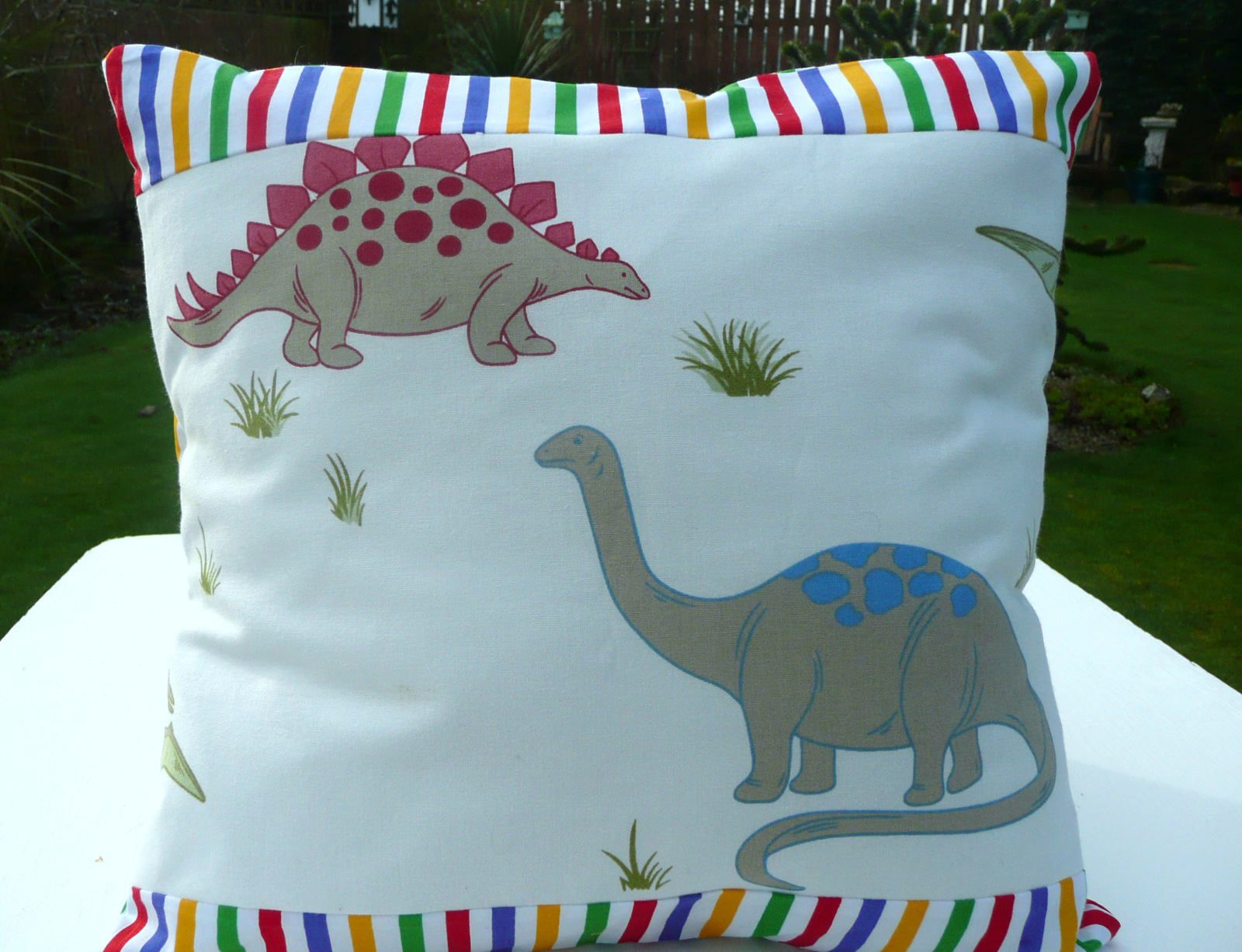 Dinosaur cushion coverhandmade using laura ashley dinosaur fabric