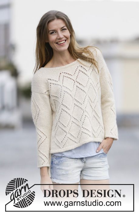 Drops Pattern 159- 7, Knitted jumper with lace pattern, worked top ...
