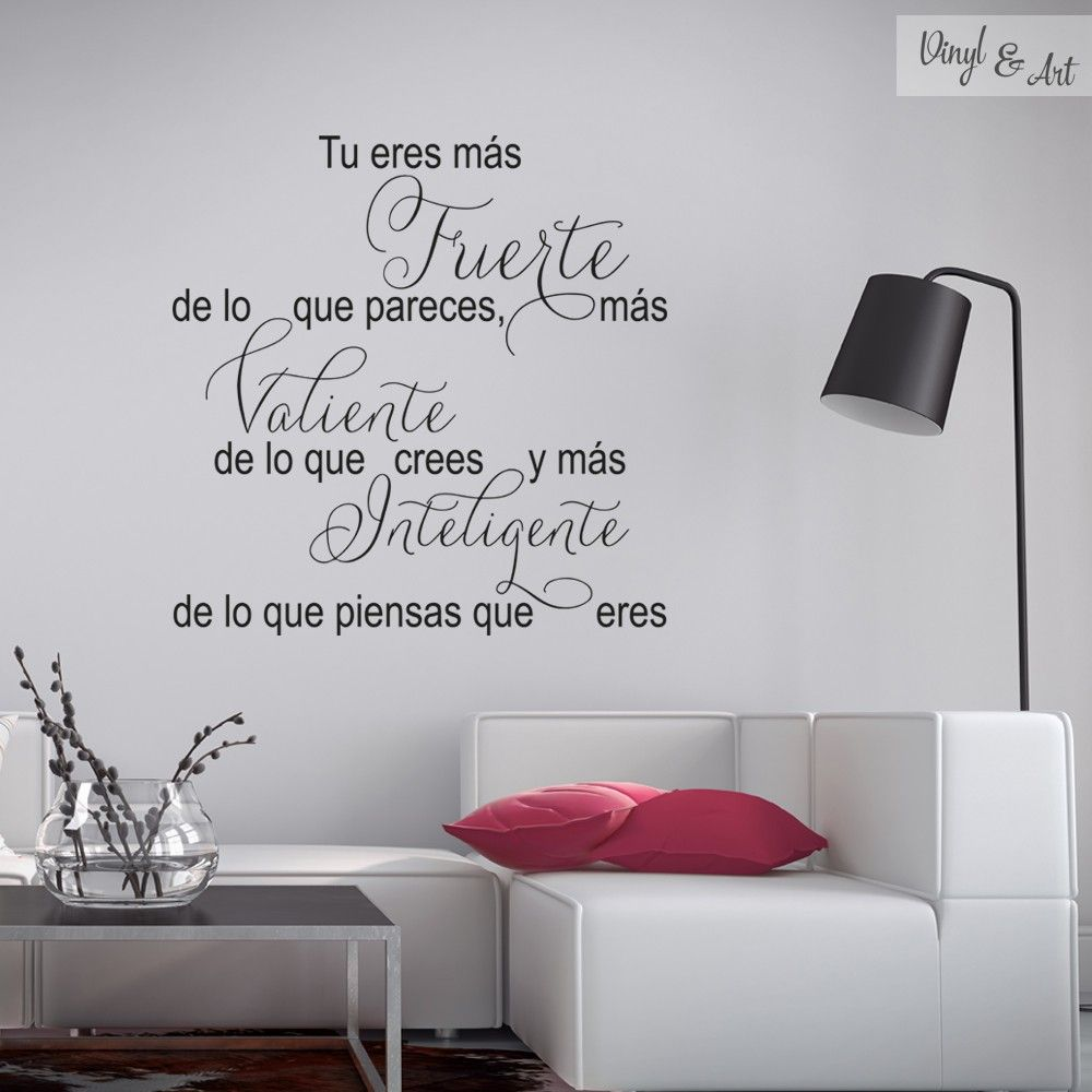 Vinilo adhesivo decorativo frases fuerte valiente e for Vinilos decorativos adhesivos pared