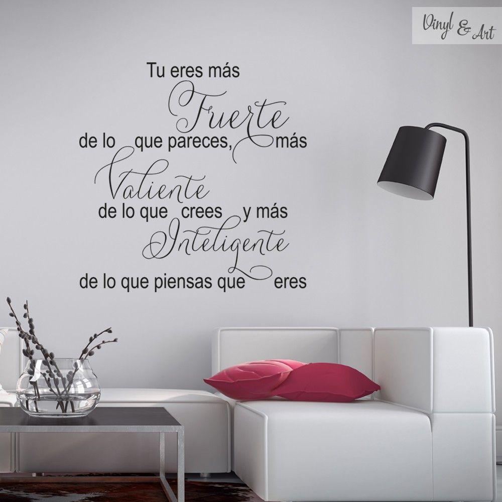Vinilo adhesivo decorativo frases fuerte valiente e for Vinilos pared frases