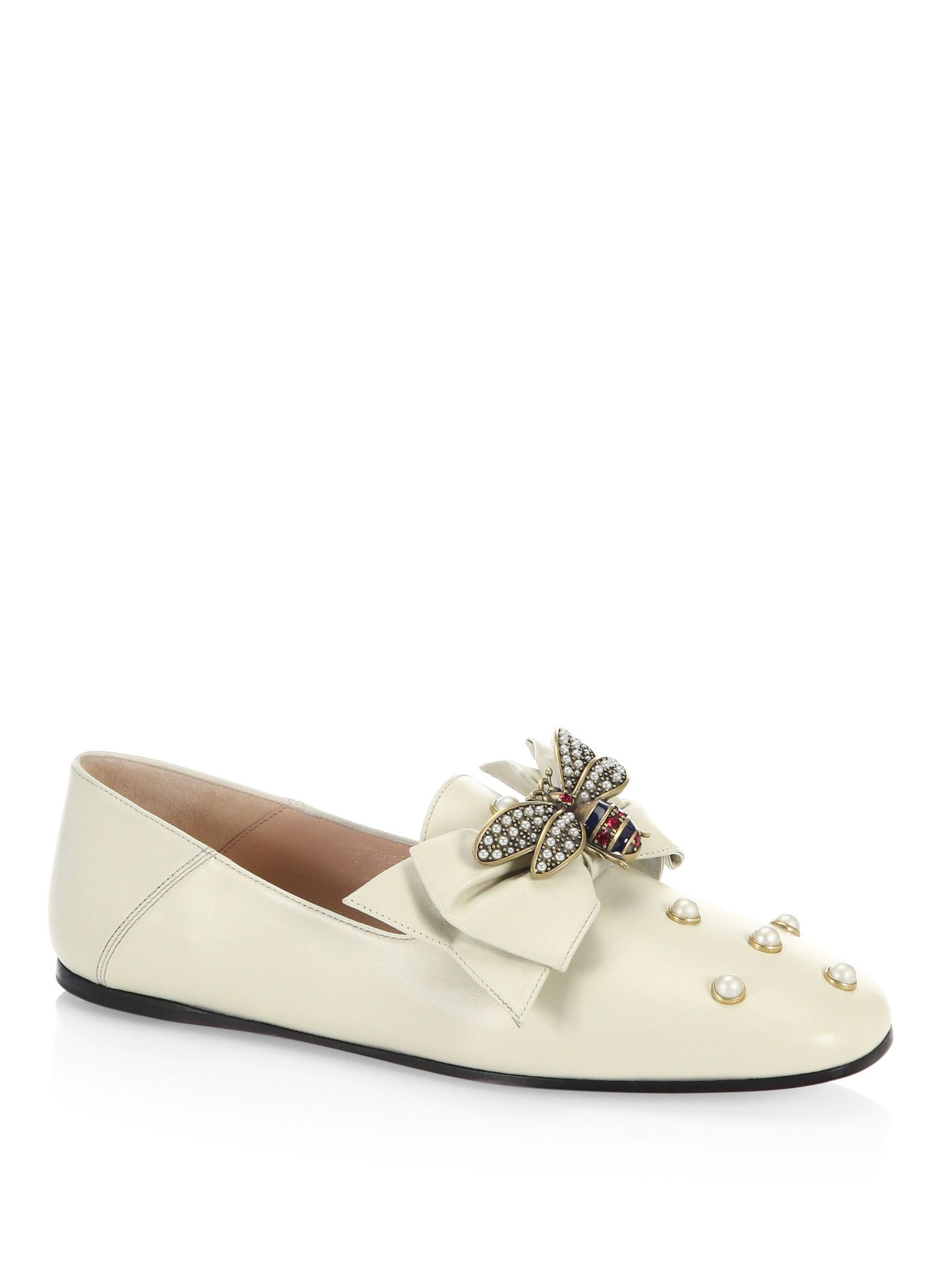 Gucci Queen Margaret Bee Leather Flats
