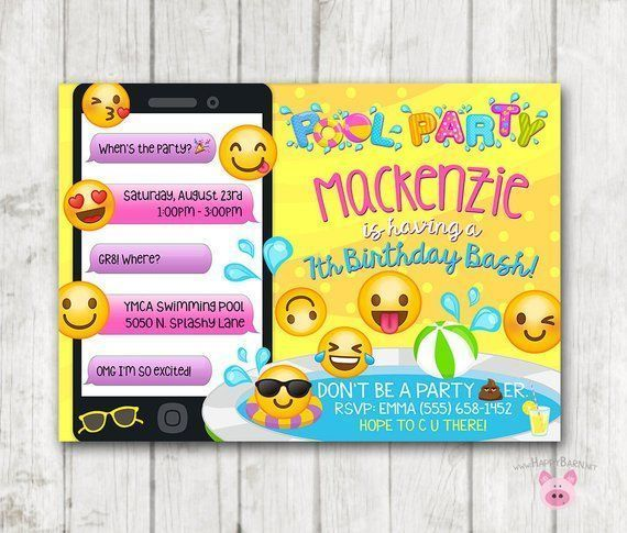 Printable Emoji Pool Party Party Invitation Swim Party Emoji invitations Emoji B is part of Emoji birthday invitations, Emoji party, Emoji invitations, Emoji birthday, Printable birthday invitations, Pool party invitations - Printable Emoji Pool Party Party Invitation Swim Party Emoji invitations Emoji B    Printable Emoji