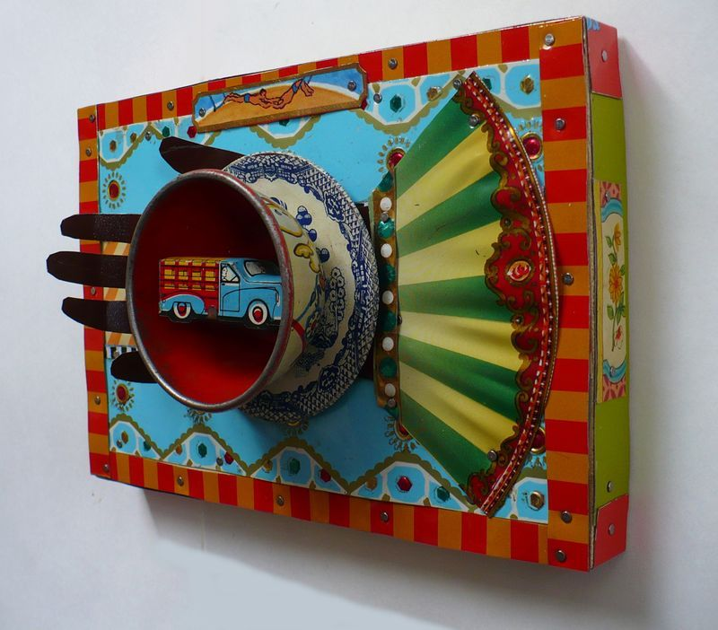 Lady Bug Circus: Truck in My Cup, recycled tin art