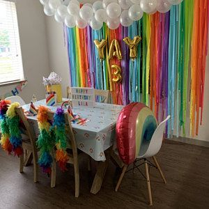 Streamer Backdrop, Fringe Backdrop, Rainbow Birthday Party, Rainbow Backdrop