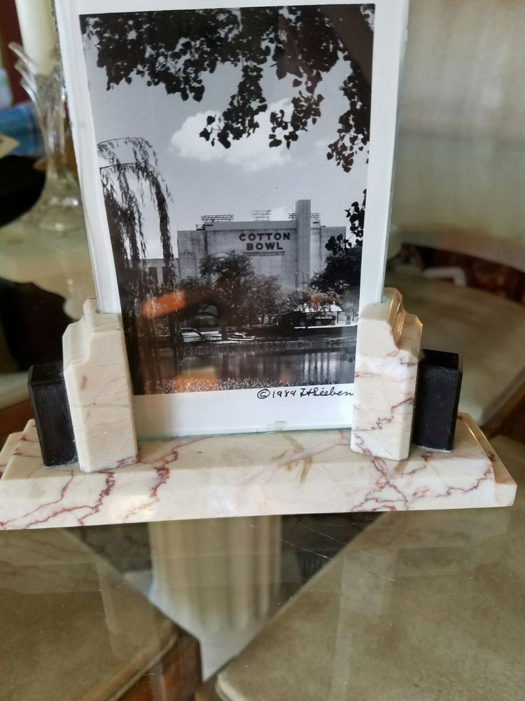 Art Deco Marble and Onyx Picture Frame with Cotton Bowl Dallas Texas Post Card