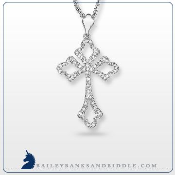 Diamond cross pendant in sterling silver