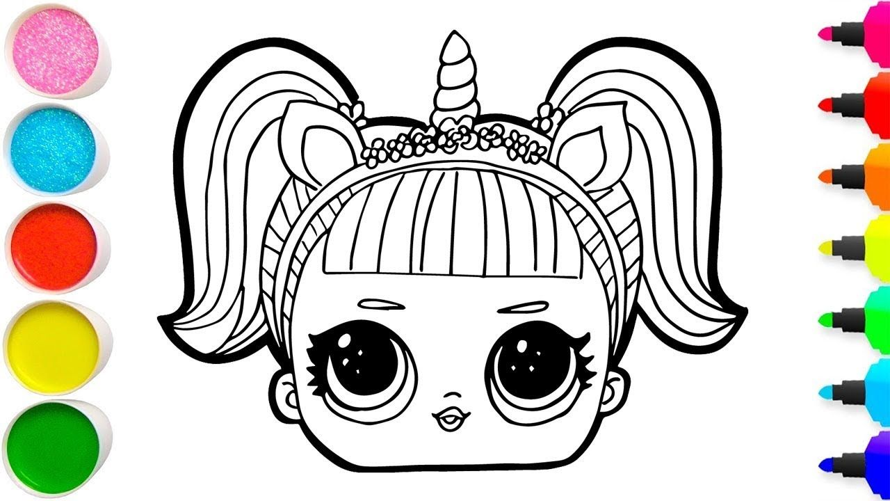 Glitter lol doll unicorn coloring and drawing for kids