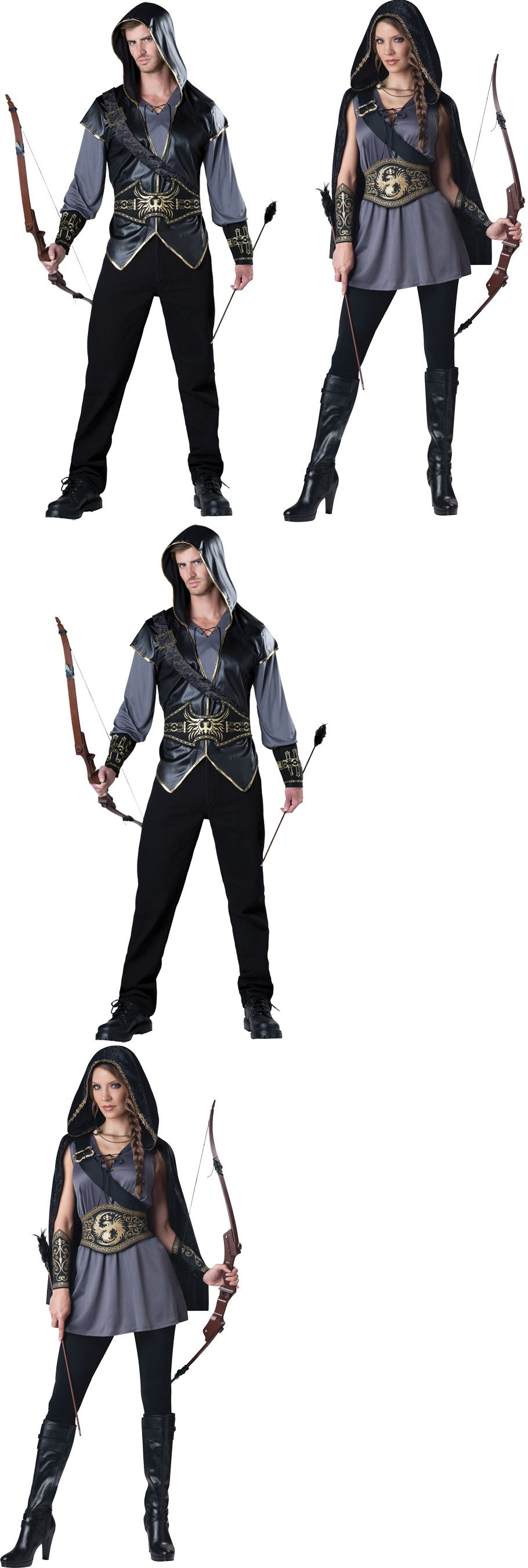 Halloween Costumes: Couples Hooded Huntsman And Huntress Adult ...