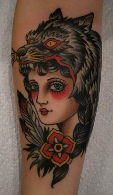 POINT.SHOOT - Traditional wolf girl tattoo in strong ...