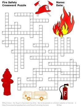 Fire Safety Week Printable Vocabulary Crossword Puzzle