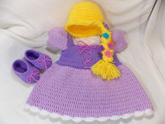 Princess Rapunzel Inspired Costume/ Crochet Rapunzel Wig/Princess Dress/Princess Photo Prop Newborn